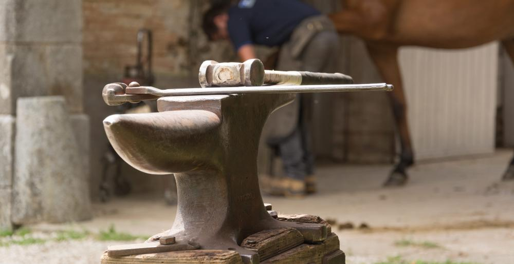 The French farrier Stéphane Brehin anvil and tools