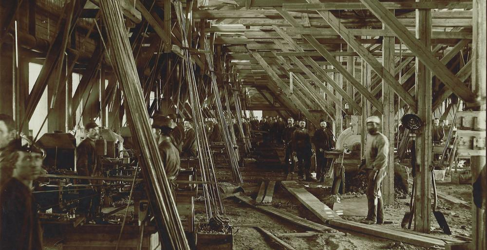 Employees in an old factory of Mustad